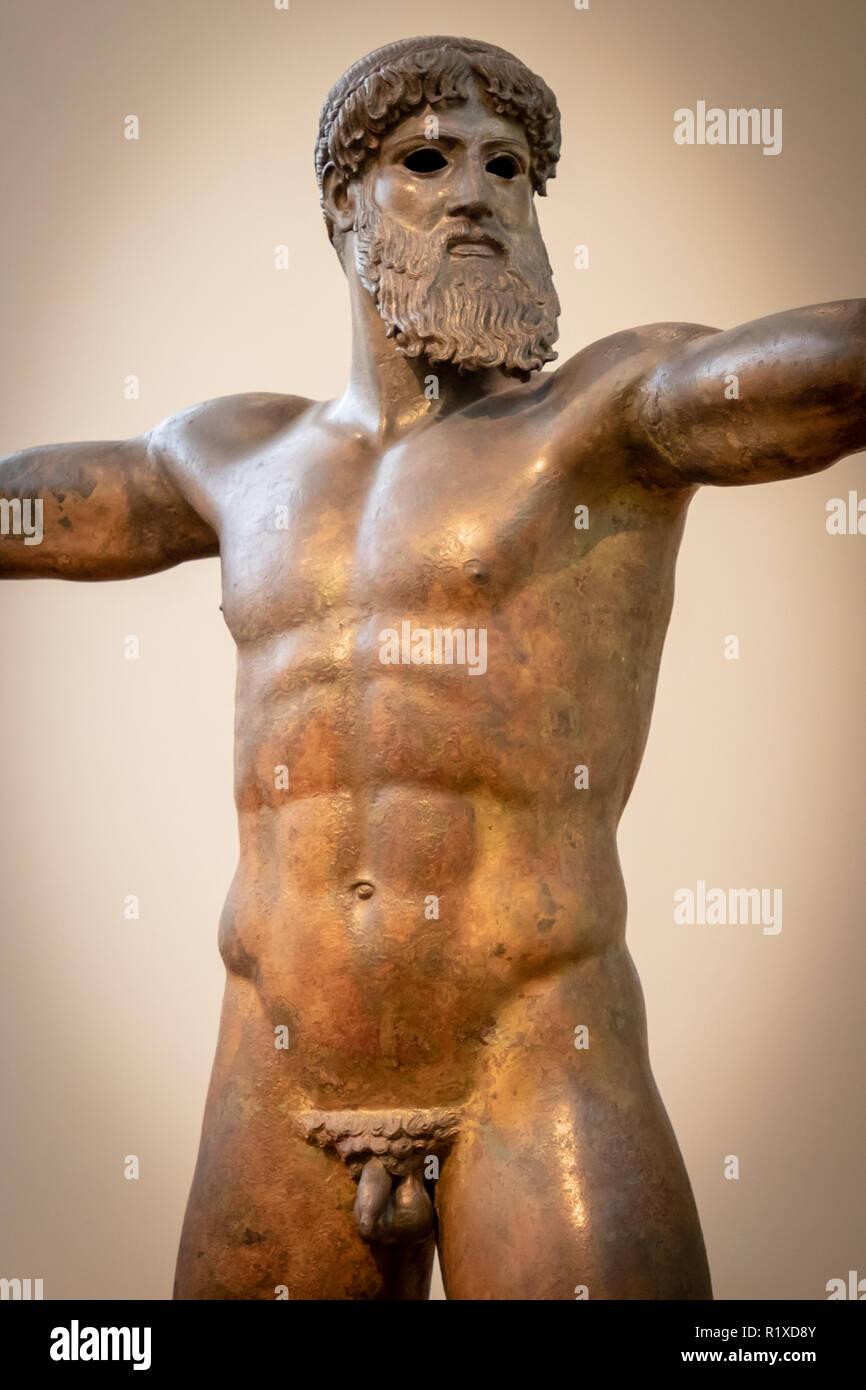 Bronze Zeus or Poseidon, found Sea of Cape Artimision, Northern Euboea, 460 BC. - Stock Image