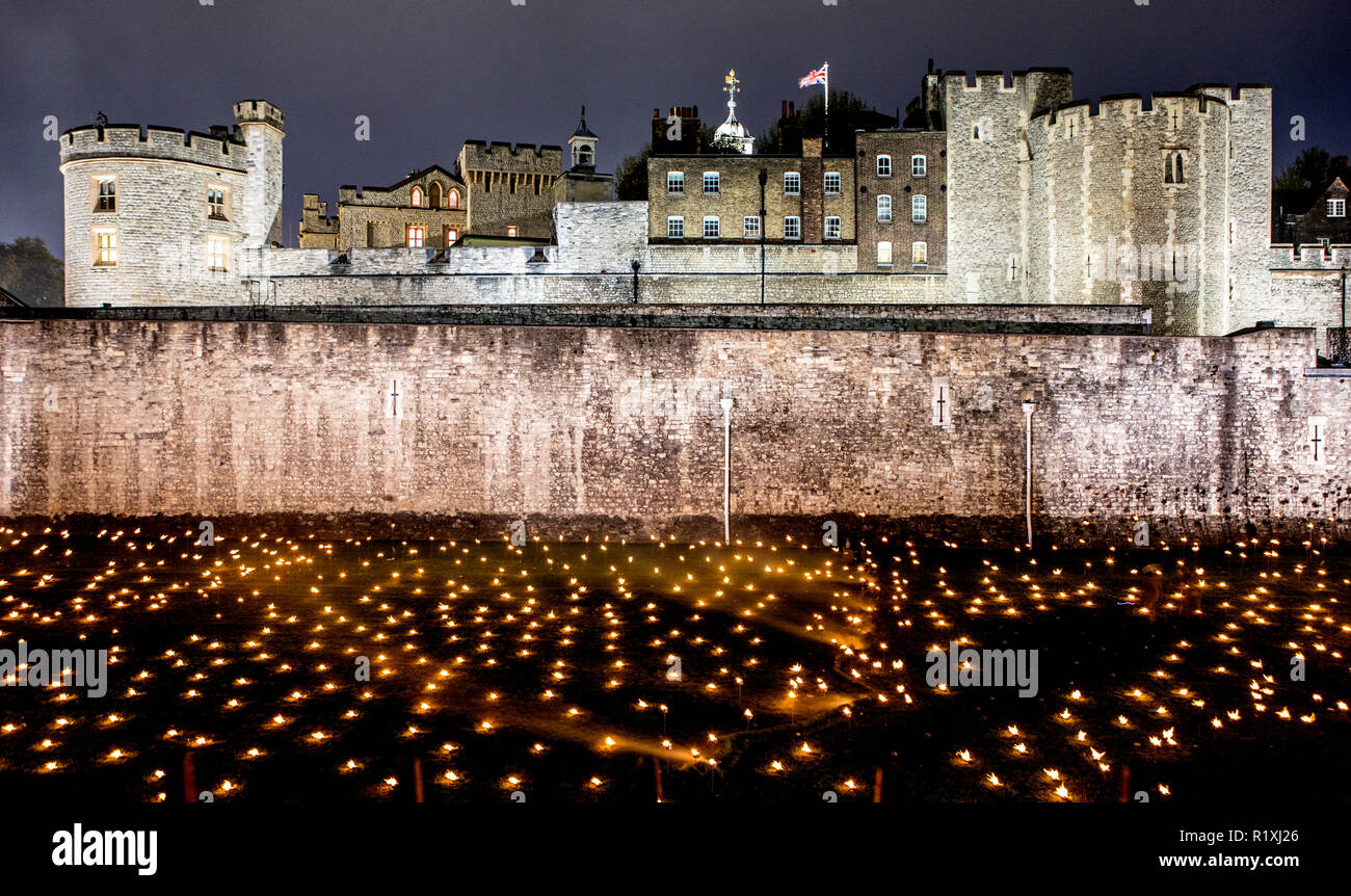 Beyond The Deepening Shadow World War One memorial at the Tower Of London UK - Stock Image