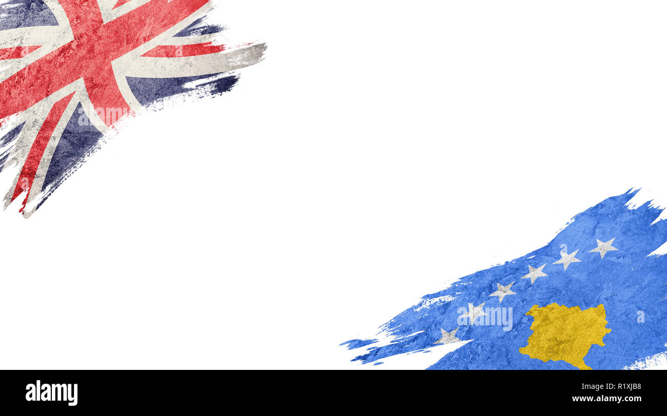 Flags of United Kingdom and Kosovo on white background Stock Photo