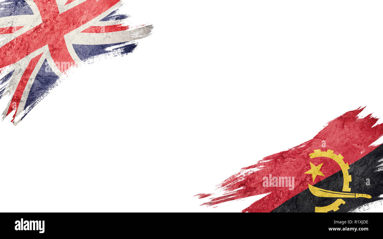 Flags of United Kingdom and Angola on white background - Stock Image