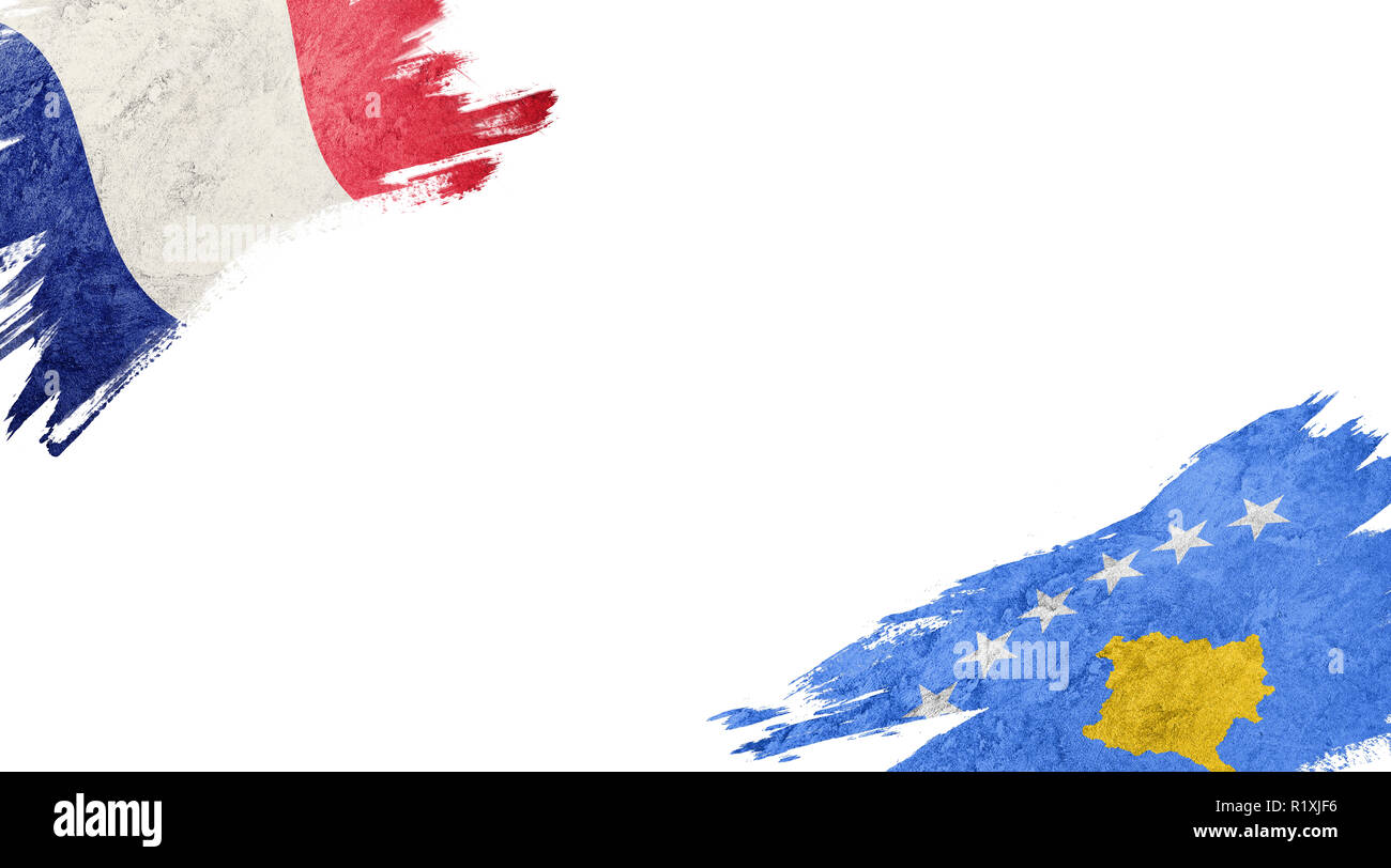 Flags of France and Kosovo on white background Stock Photo