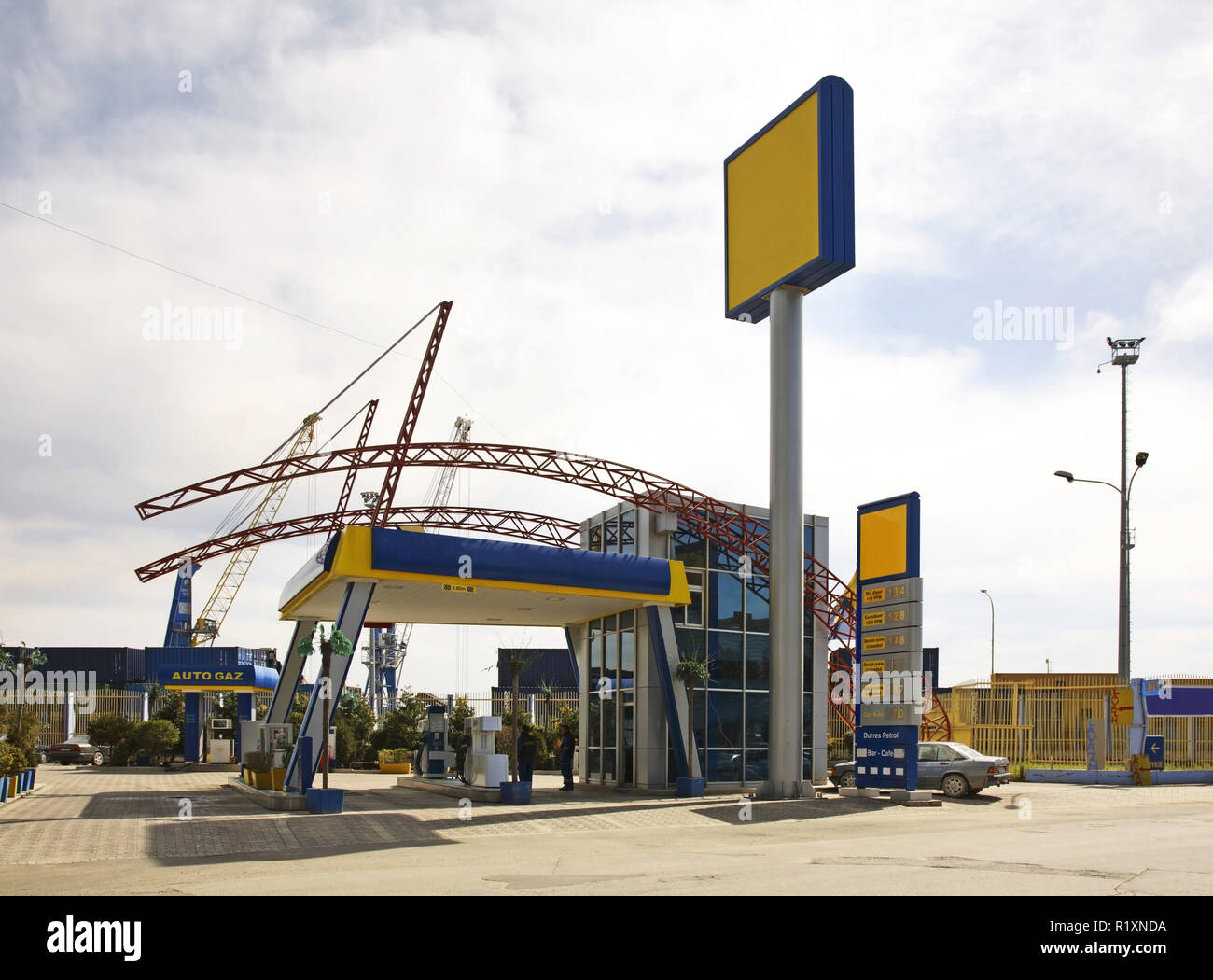 Filling station in Durres. Albania - Stock Image