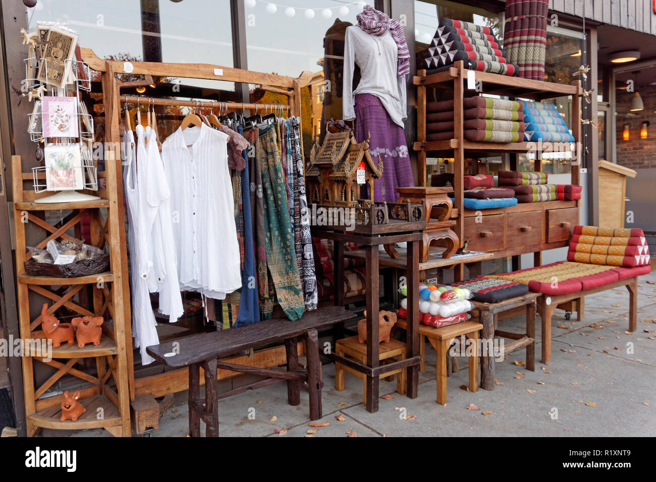 Thai Handicrafts And Clothing For Sale Outside Spirit House Thai