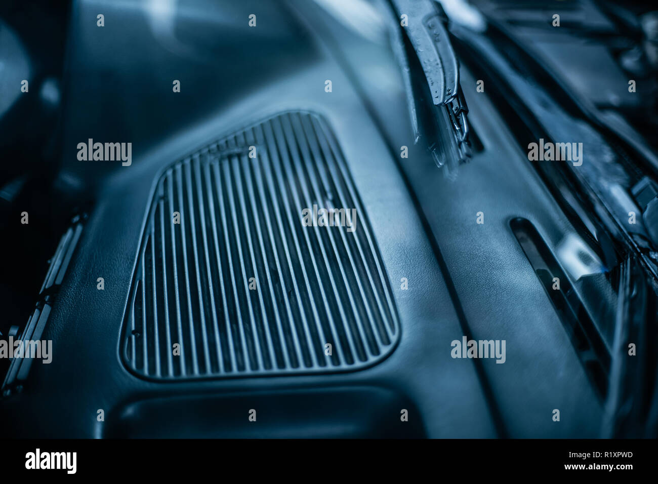 Big car heat and condition deflector in cold colors - Stock Image
