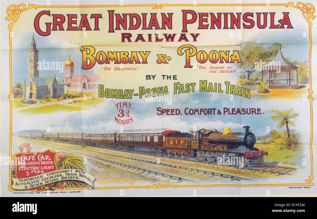 GREAT INDIAN PENINSULA RAILWAY poster about 1907 Stock Photo