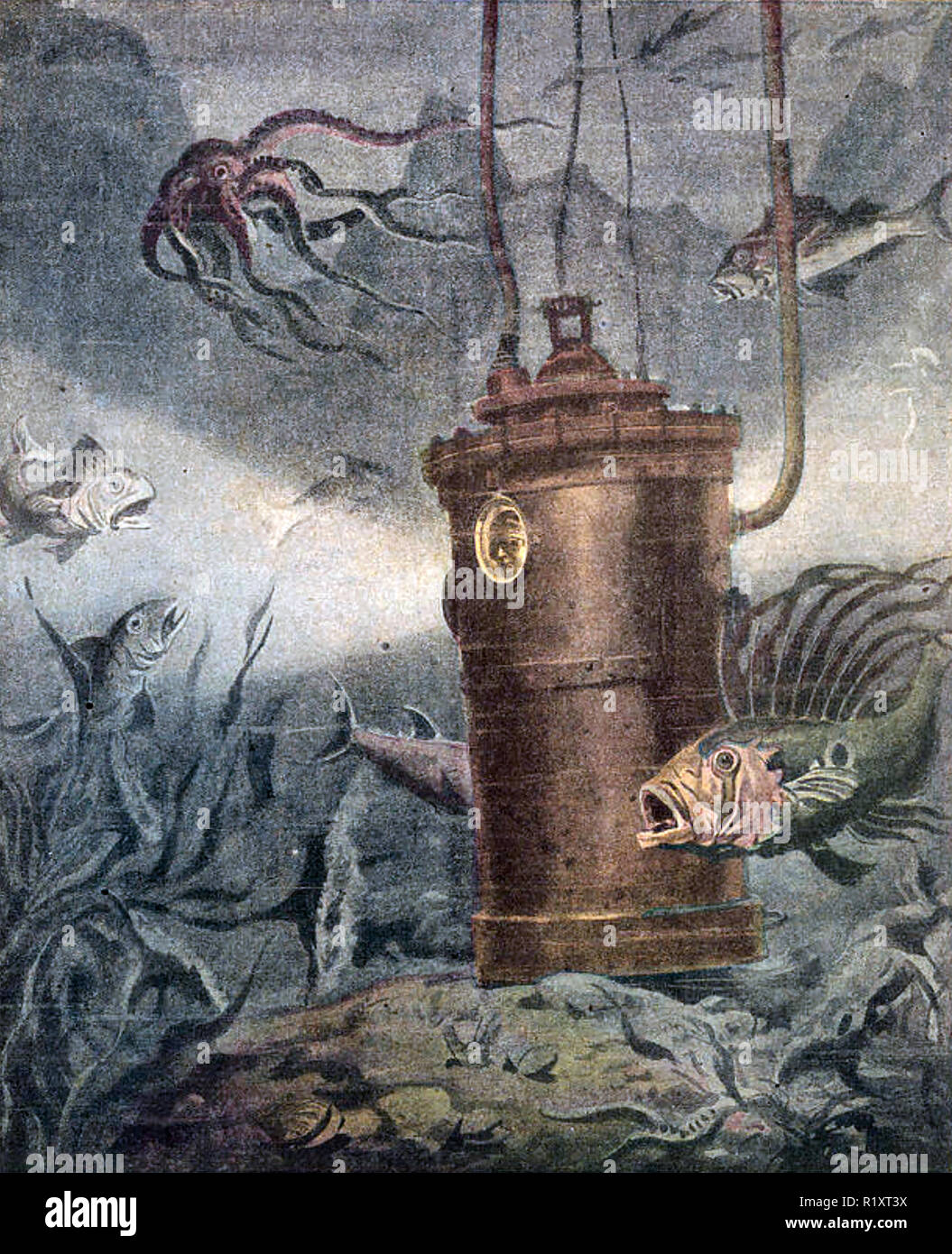DIVING BELL in the Gulf of Naples illustrated in an Italian magazine in 1910 - Stock Image