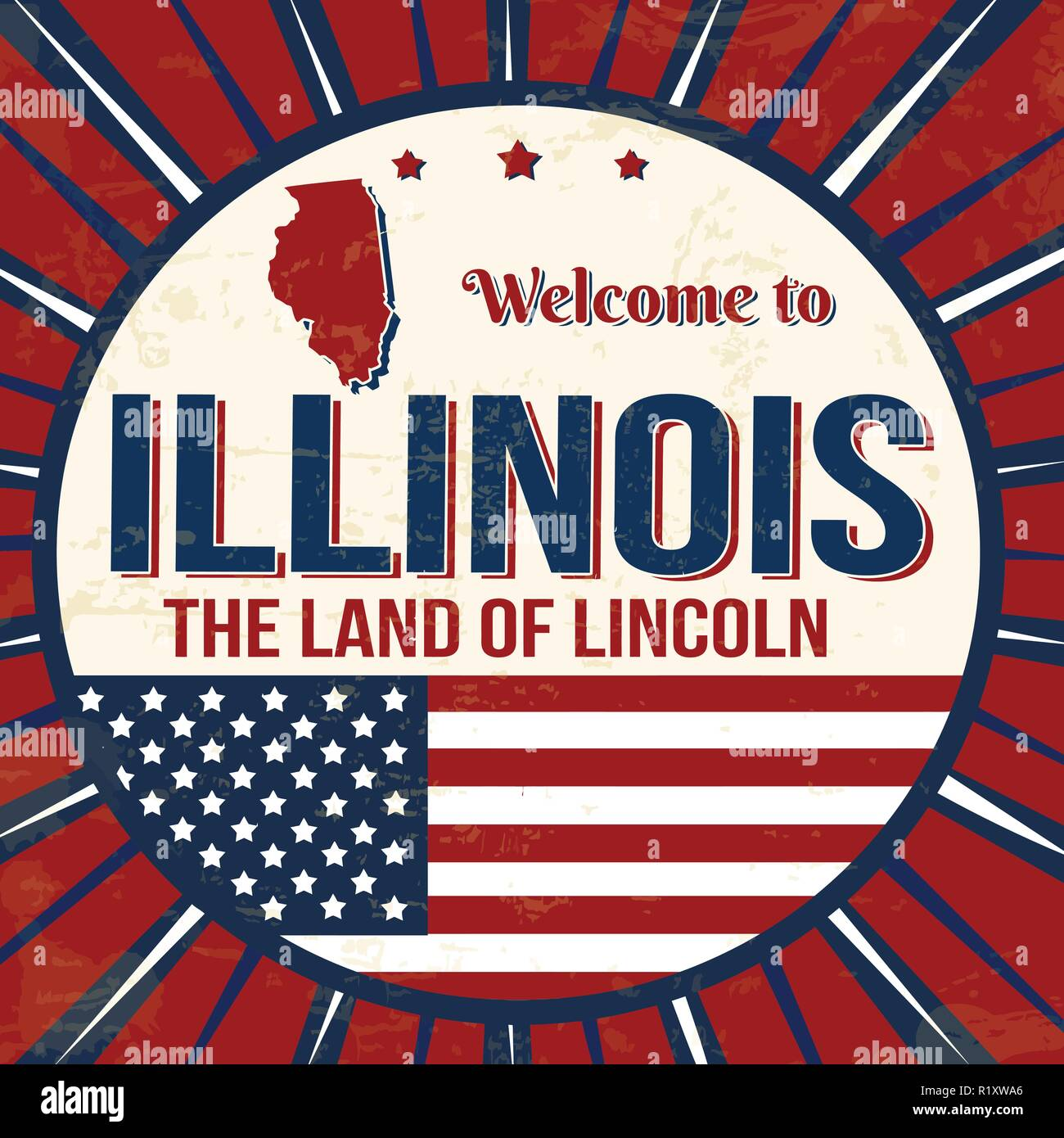 Welcome to Illinois vintage grunge poster, vector illustrator - Stock Vector