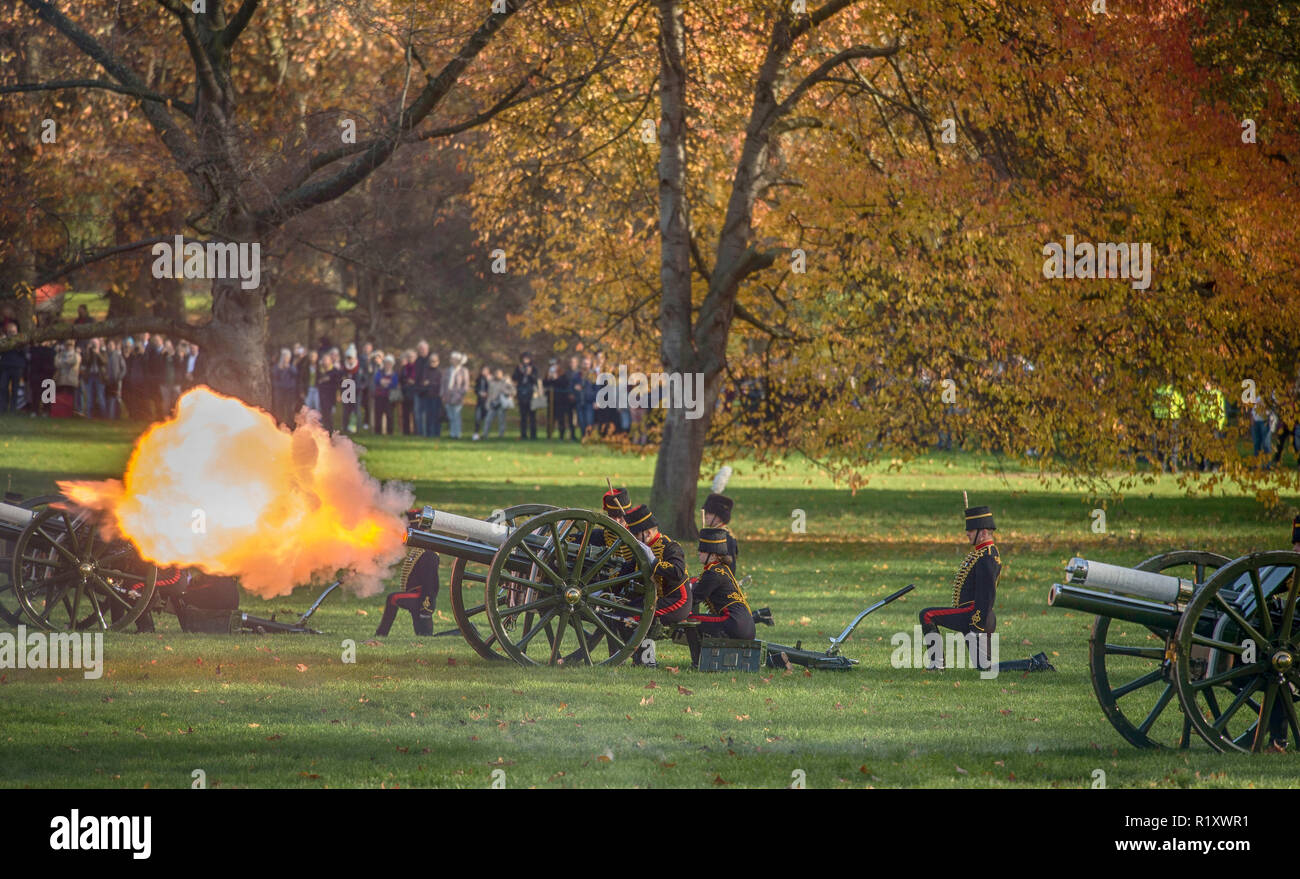 Green Park, London, UK. 14 November, 2018. In honour of His Royal Highness The Prince of Wales's 70th birthday, a 41 gun salute is fired. - Stock Image