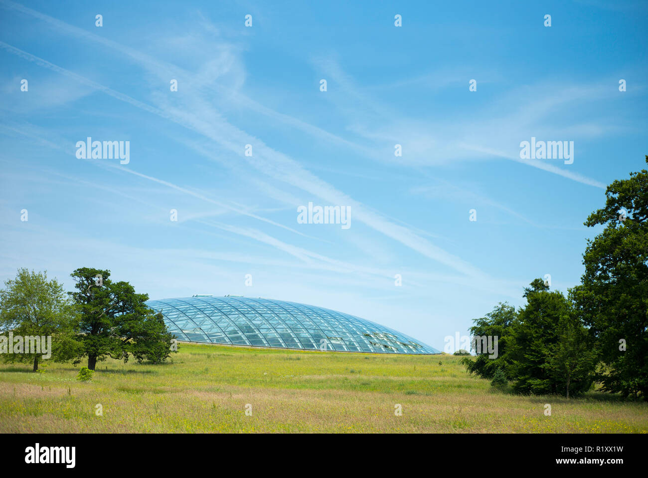 Dome shaped glass roof of The Great Glasshouse of the National Botanic Garden of Wales in Carmarthenshire, UK - Stock Image