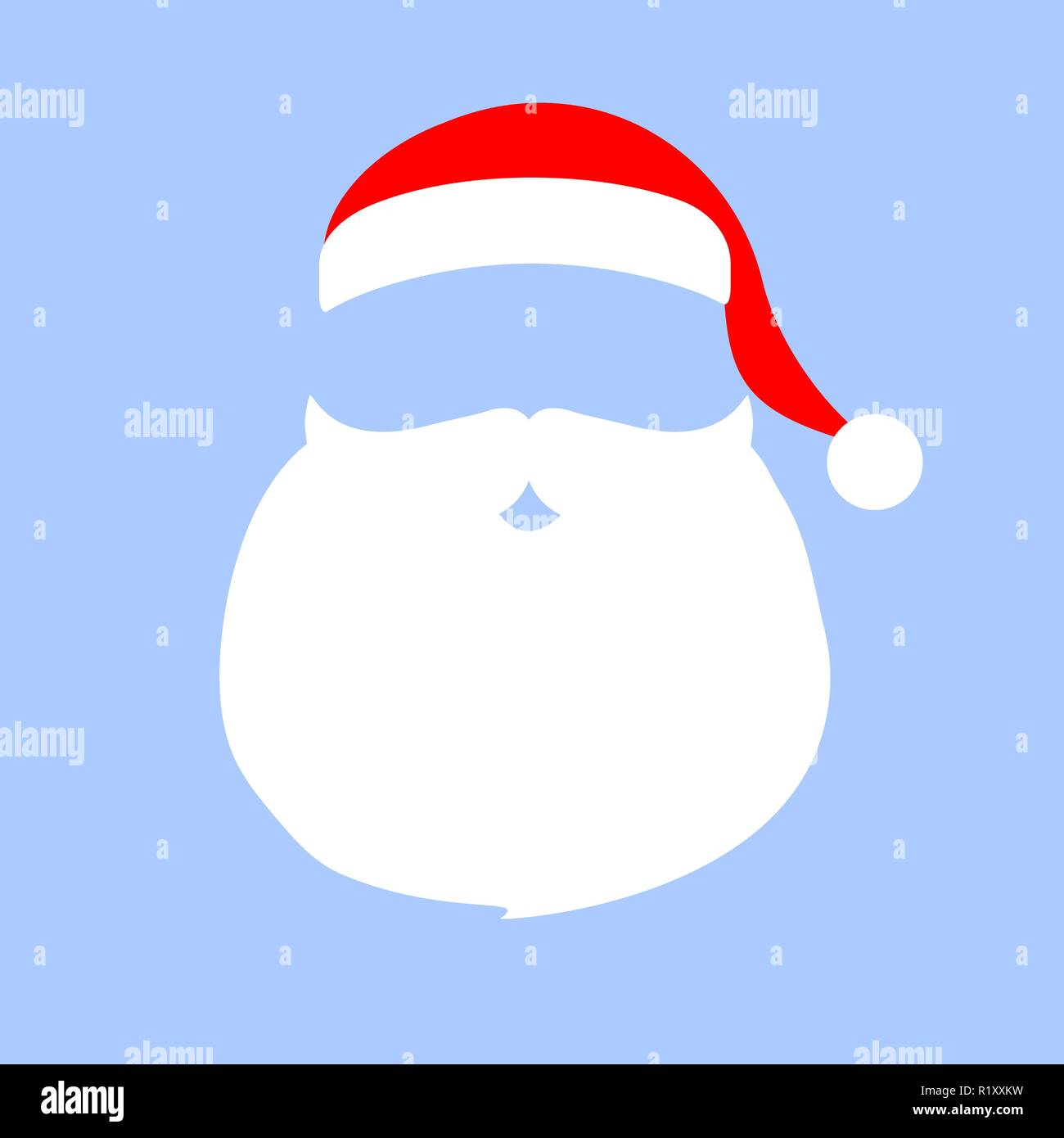 e08b1677207 Cap and mustache with a beard of Santa Claus on a white backgrou - Stock  Vector