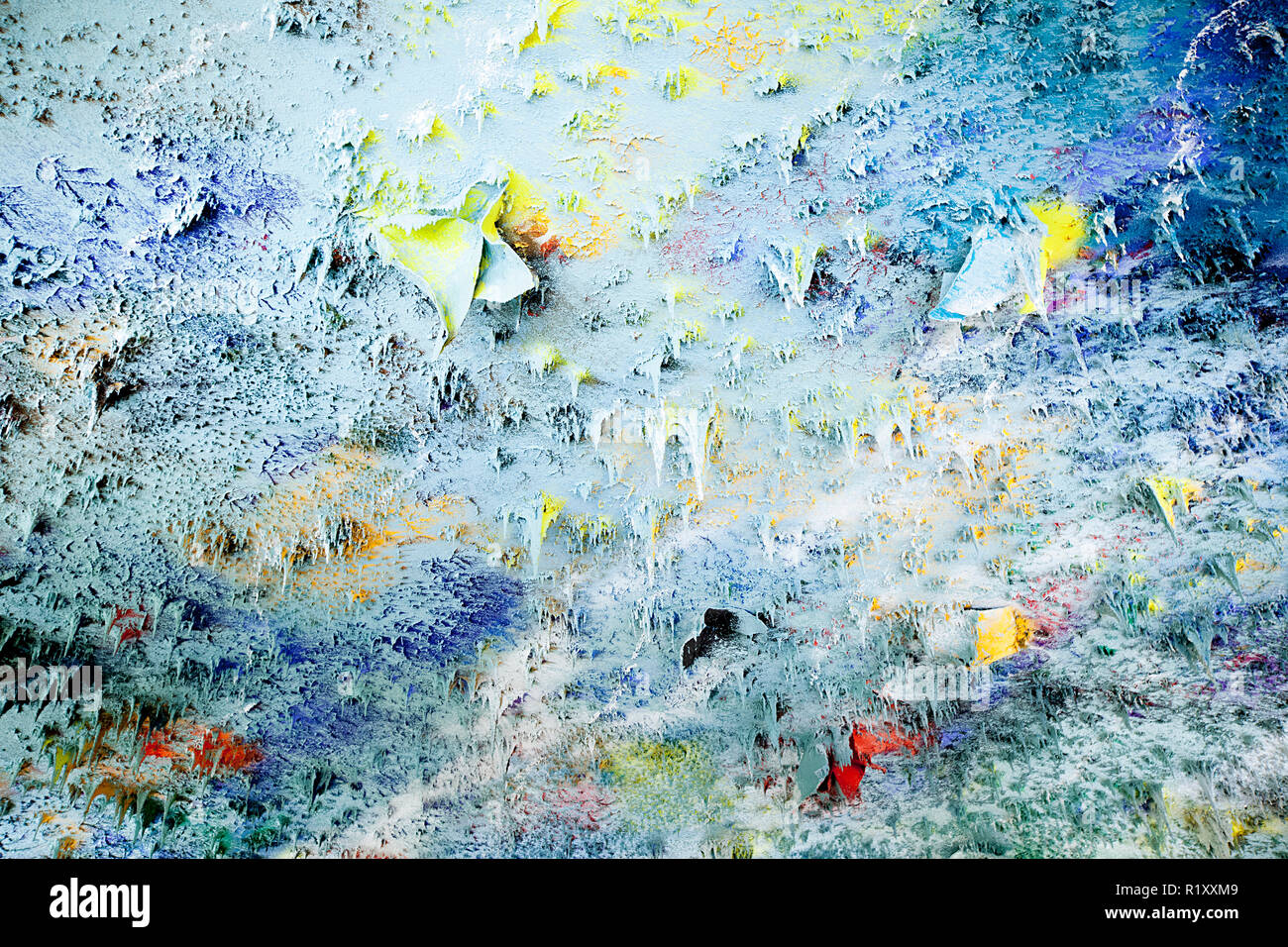 Geneva - Switzerland, February 27, 2014. The Spanish painter Miquel Barcelo is the artist behind the colourful ceiling of the Human Rights and Alliance of Civilizations Room (Room XX) at the United Nations Office in Geneva, the Palais des Nations. The stalactite forms are inspired by nature. - Stock Image
