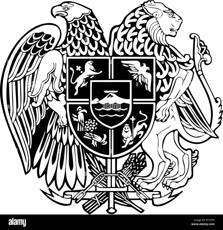 Armenia passport emblem - Stock Image