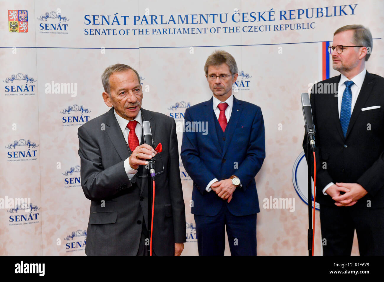 Prague, Czech Republic. 14th Nov, 2018.    FILE PHOTO   Senate calls PM Babis's stay in govt till Capi hnizdo subsidy fraud is investigated unacceptable over new suspicions. Govt CSSD voted for this, too in Prague, Czech Republic, November 15, 2018. L-R Jaroslav Kubera, Milos Vystrcil and Petr Fiala all of The Civic Democratic Party (ODS). Credit: Vit Simanek/CTK Photo/Alamy Live News - Stock Image