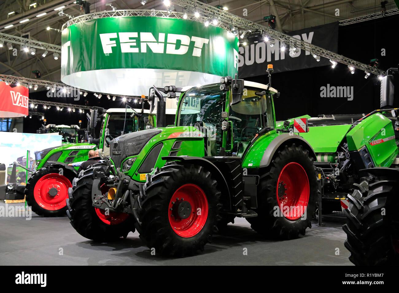 Helsinki, Finland - November 15, 2018: Fendt 724 Vario tractor displayed on  Agco Finland stand on MaatalousKonemessut Agricultural Trade Fair,  Helsinki, ...