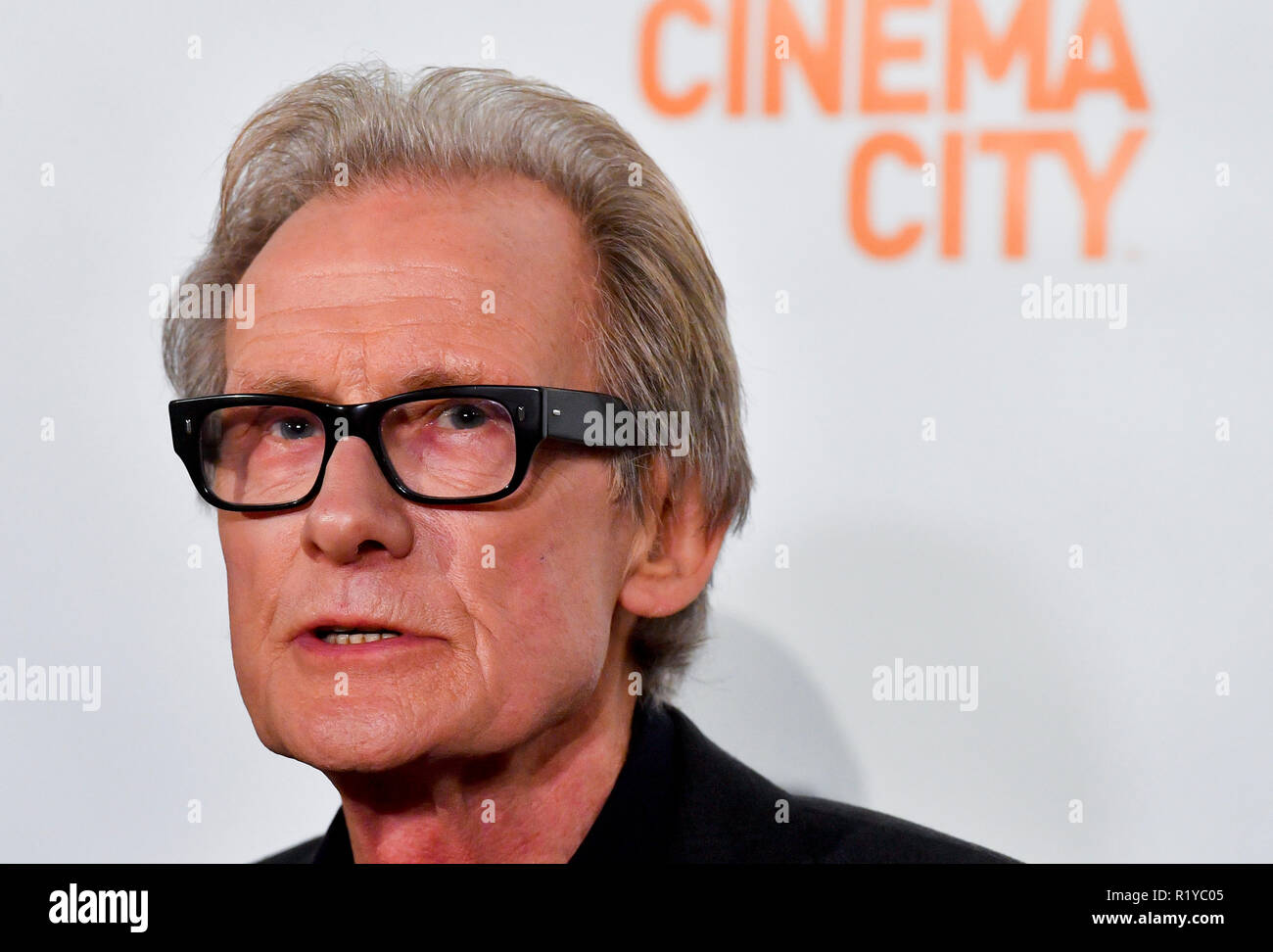 Prague, Czech Republic. 15th Nov, 2018. British actor Bill Nighy meets journalists prior to the benefit screening of the film Love Actually by Richard Curtis in Cinema City Chodov in Prague, Czech Republic, on Thursday, November 15, 2018. Credit: Vit Simanek/CTK Photo/Alamy Live News - Stock Image