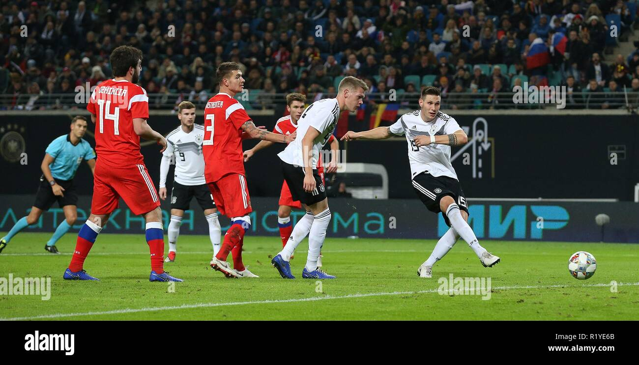 Leipzig, Germany. 15th Nov, 2018. firo: 15.11.2018, Football, Landerspiel, National Team, Season 2018/2019, GER, Germany - RUS, Russia, Russia goal to 2: 0, SULE | usage worldwide Credit: dpa/Alamy Live News - Stock Image