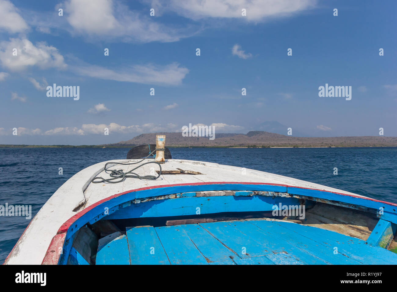 Bow of a traditional wooden boat in the Bali Barat National Park, Indonesia - Stock Image