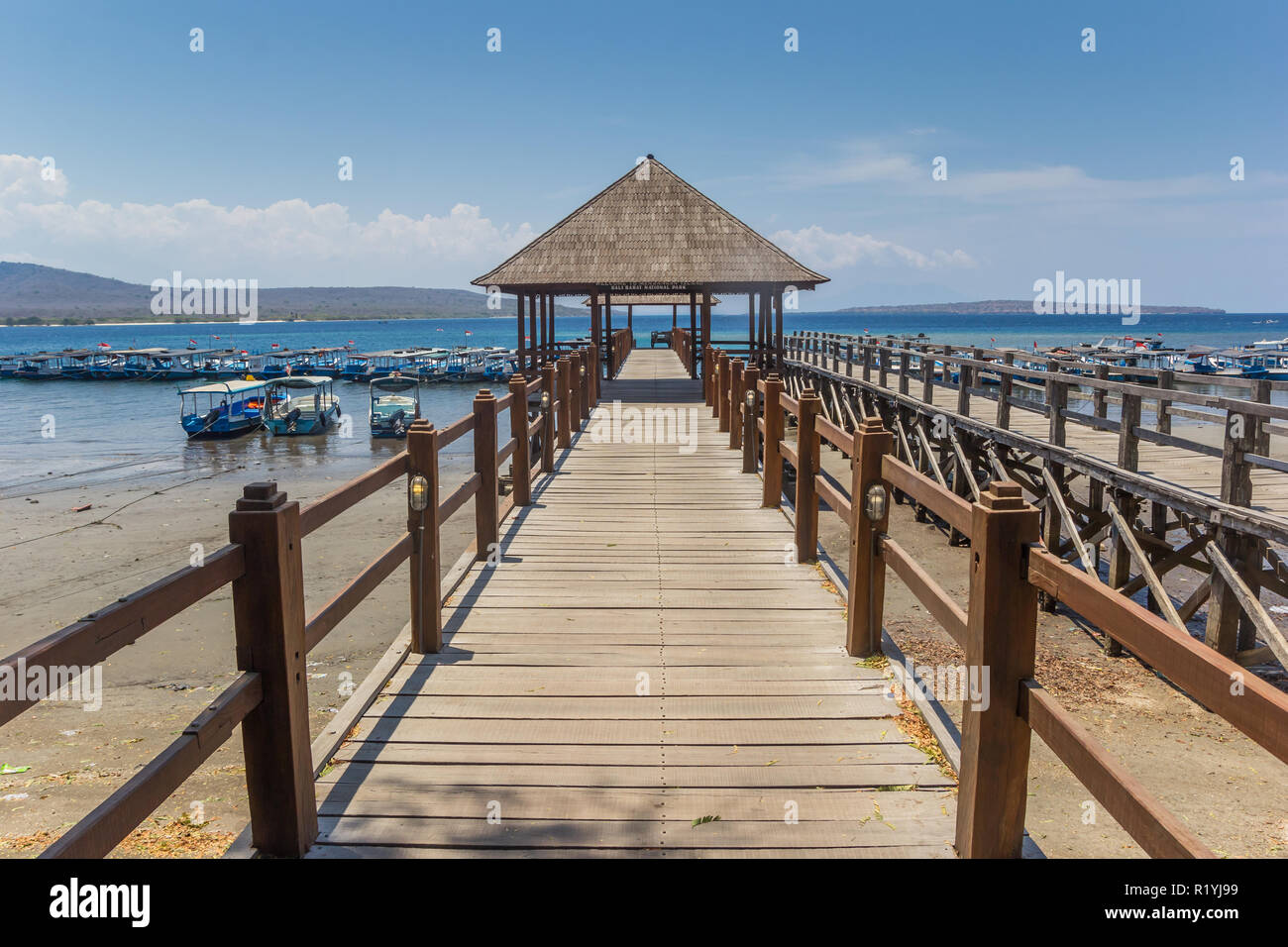 Wooden jetty at the Bali Barat National Park, Indonesia - Stock Image