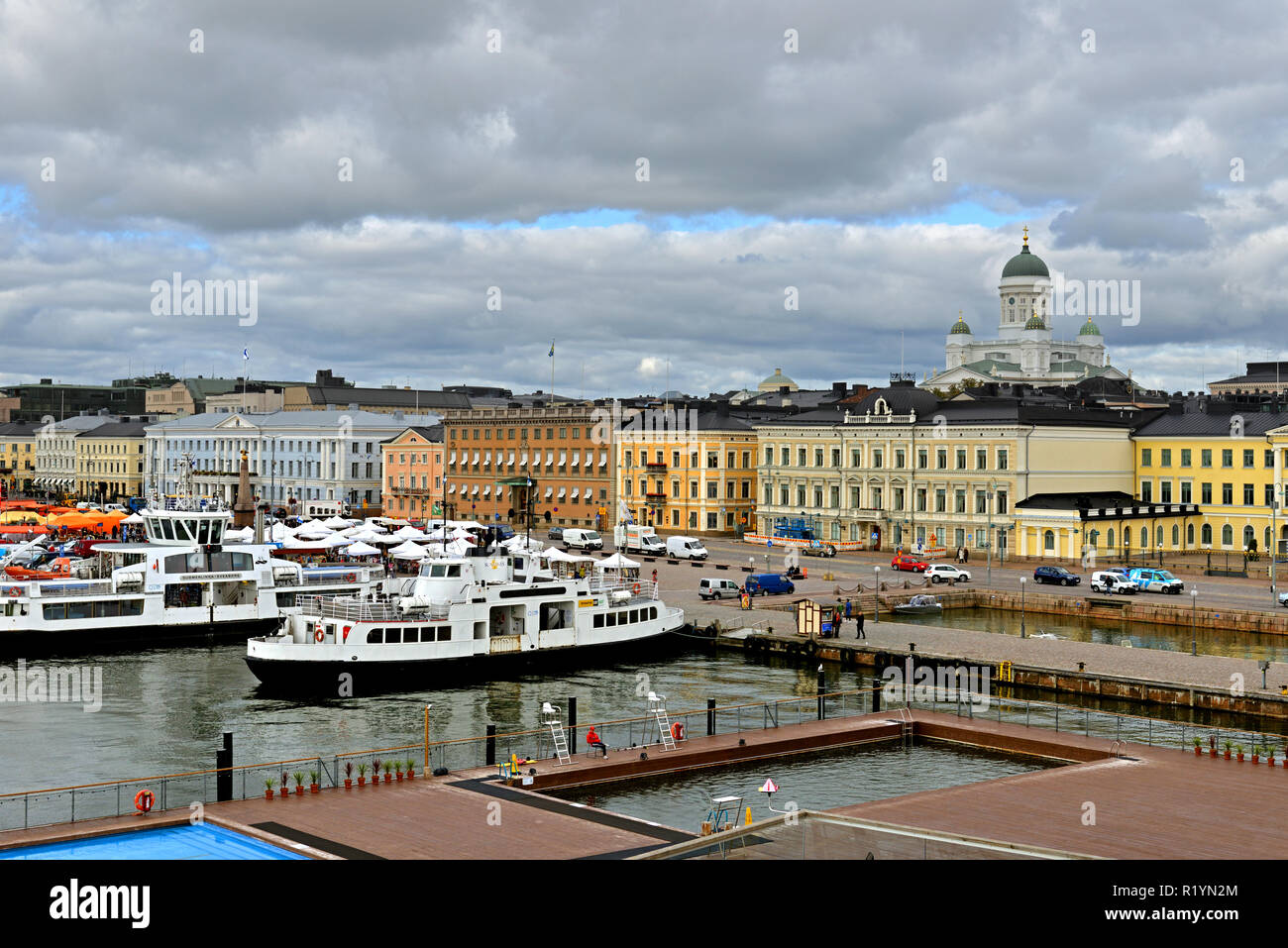 Evangelical Lutheran cathedral of Diocese of Helsinki, Market Square (Kauppatori) and South Harbor. September - Stock Image