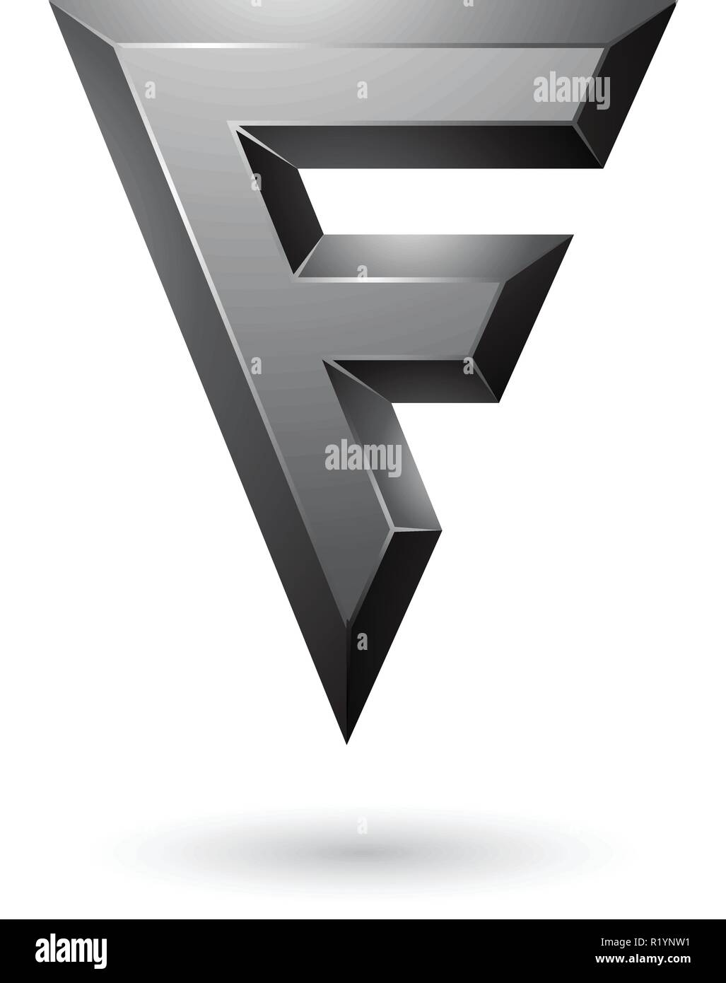 Vector Illustration Of Black Glossy Geometrical Letter F Isolated On