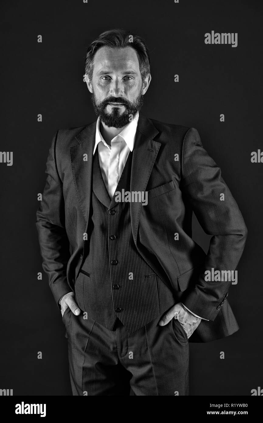 Boss concept. Confident boss. Senior boss in classy suit. Be your own boss. - Stock Image