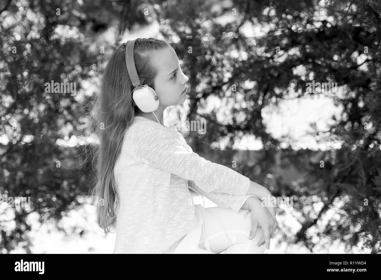 4fca2208d Little Girl Headphones Enjoy In Stock Photos   Little Girl ...