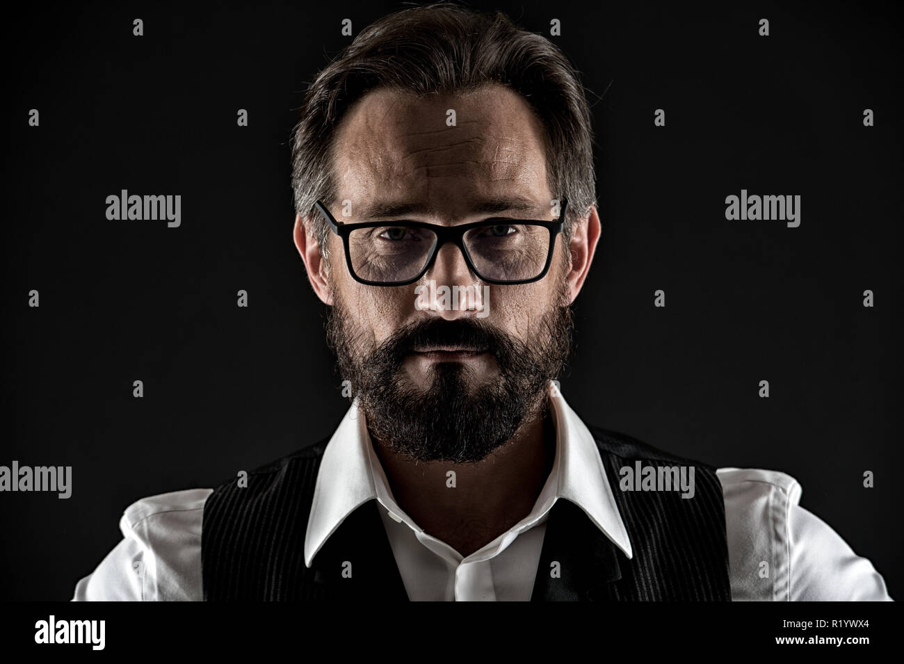 Ask him if you need wise advice. Business man face confident with wrinkles beard mustache close up. Business man classic formal clothing look strictly. Business advice more experienced entrepreneur. - Stock Image