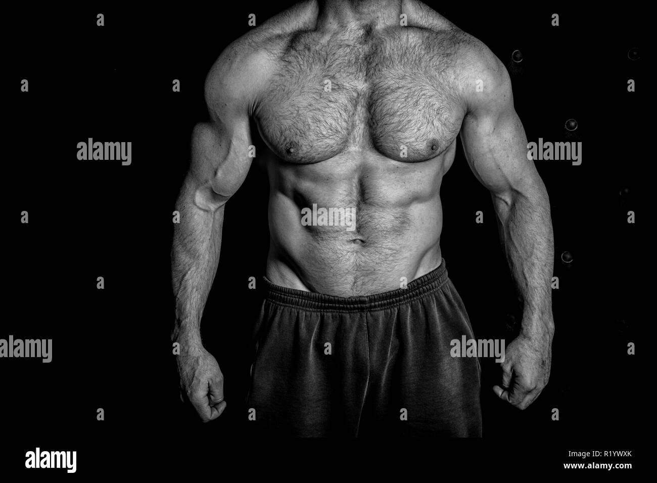 Muscle concept. Muscle torso. Torso with six pack and ab muscle. Muscle factory, black and white. - Stock Image