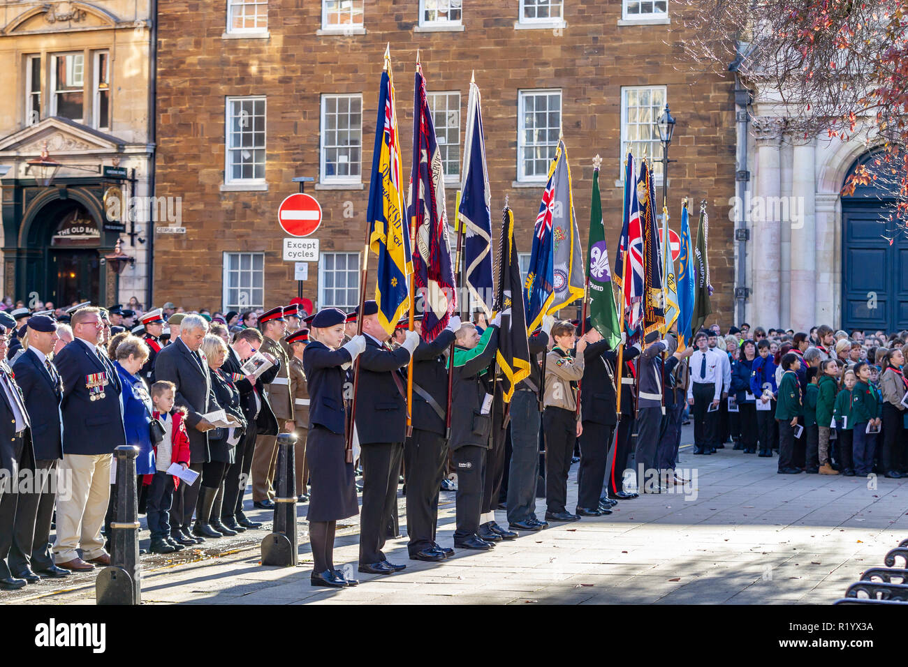 Northampton, UK. 11th November 2018. Northampton honours members of the armed forces who have lost their lives in the line of duty with a Remembrance  - Stock Image