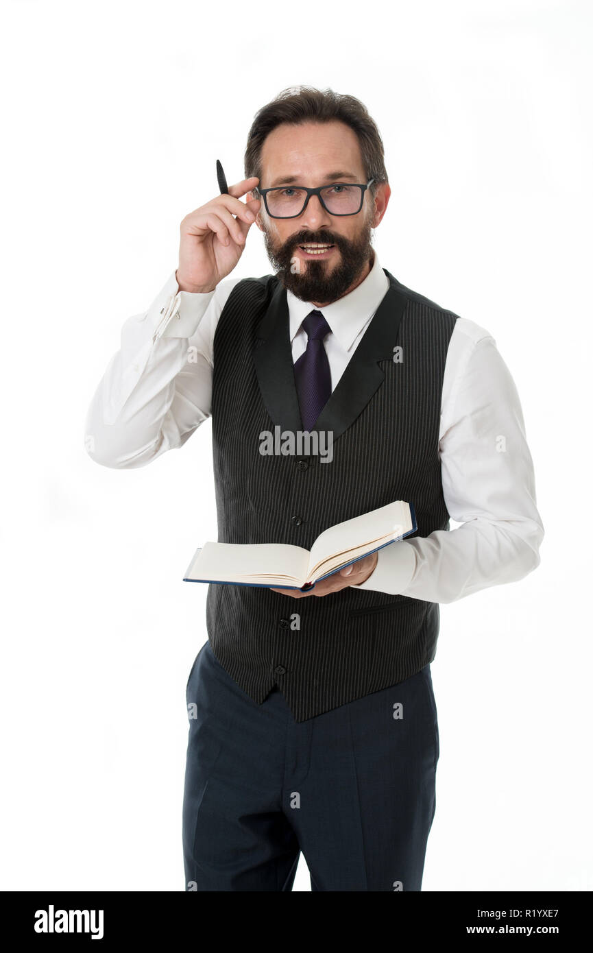 Work concept. Bearded man in glasses focus on paper work. Businessman have busy day at work. Hard work ensures success. - Stock Image