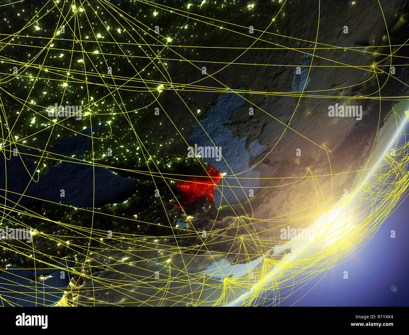 Azerbaijan on model of planet Earth with network during sunrise. Concept of new technology, communication and travel. 3D illustration. Elements of thi - Stock Image