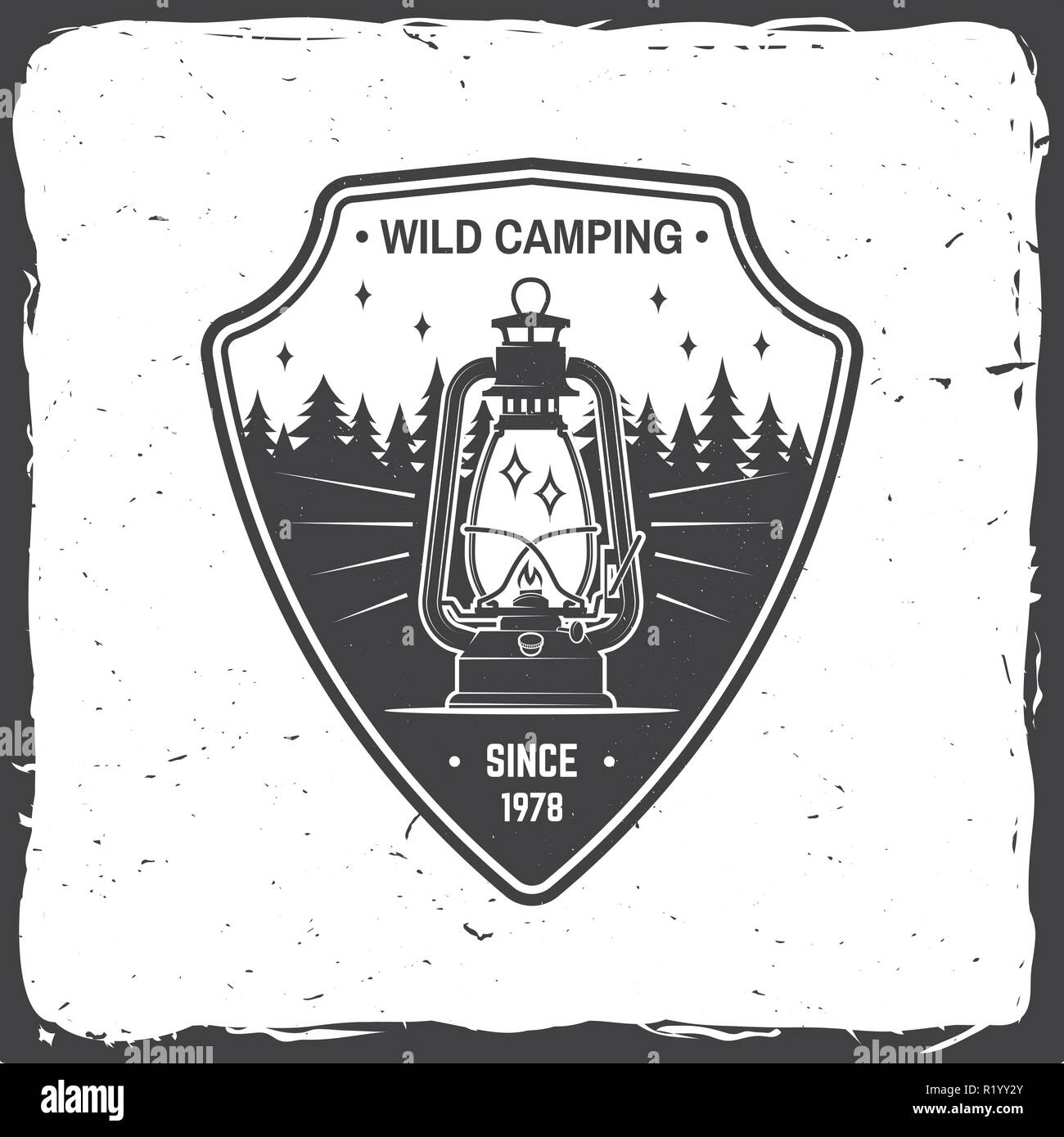 Wild camping. Vector illustration. Concept for shirt or logo, print, stamp or tee. Vintage typography design with camp lantern and forest silhouette. Outdoor adventure symbol - Stock Vector