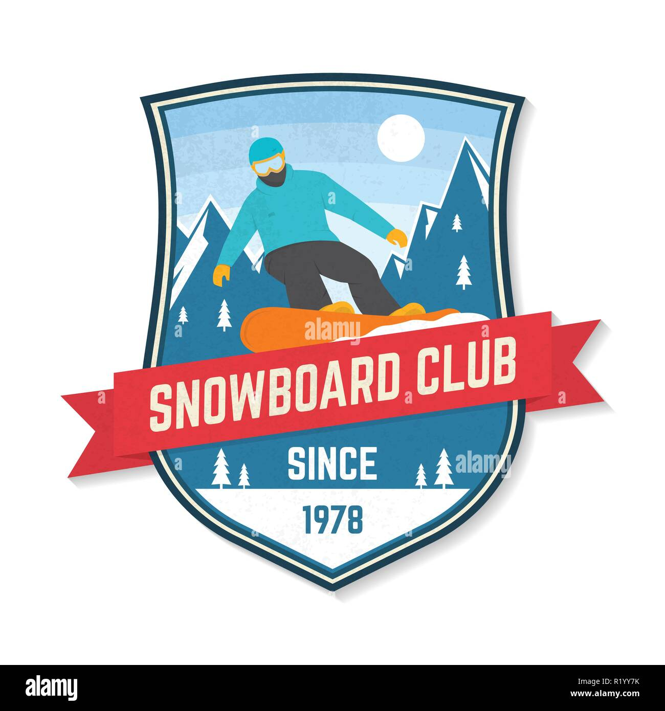 Snowboard Club. Vector illustration patch. Concept for shirt, print, stamp or tee. Design with snowboarder and mountain silhouette. Extreme winter sport. - Stock Image