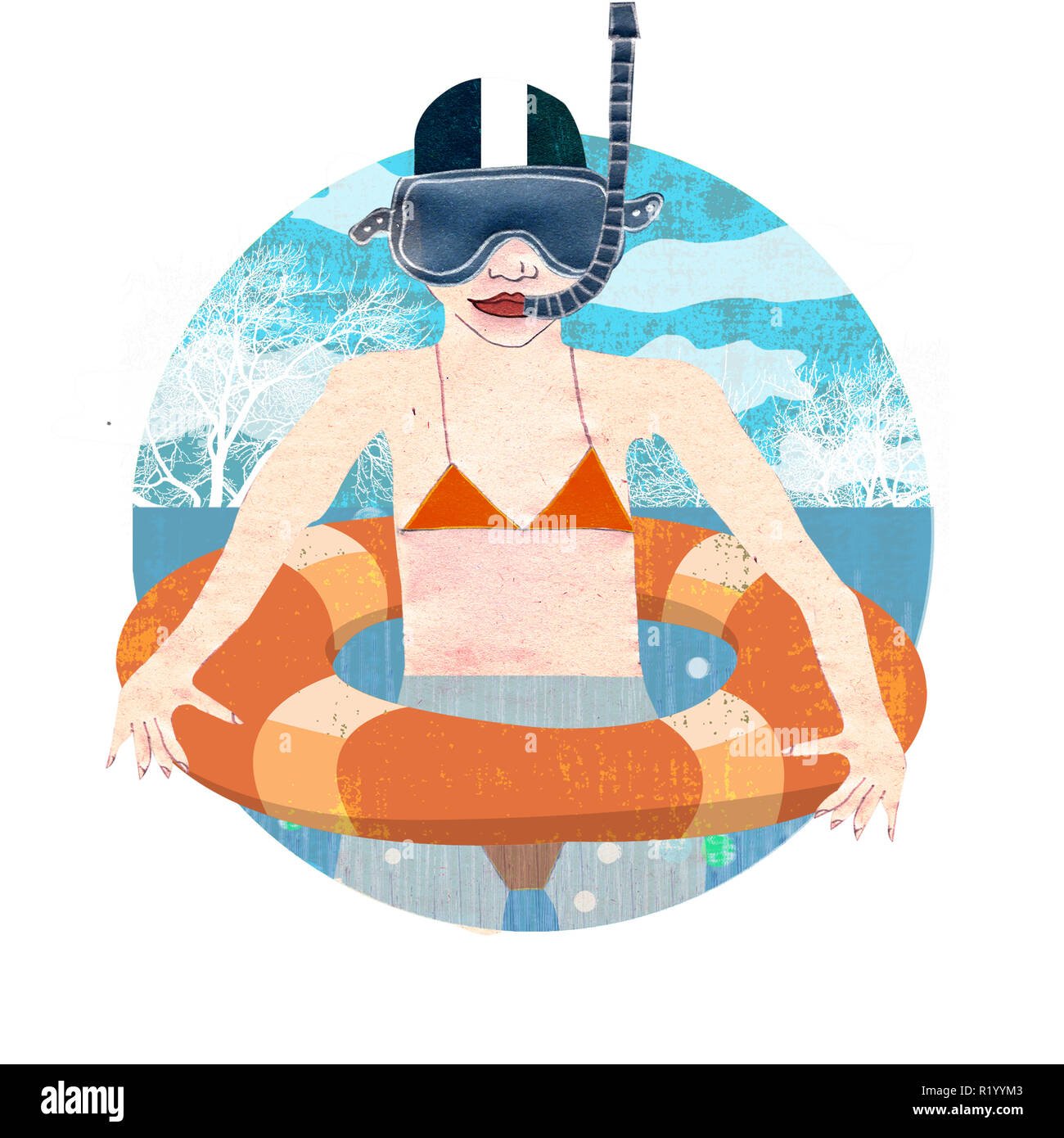 Girl with rescue belt and snorkel - Stock Image