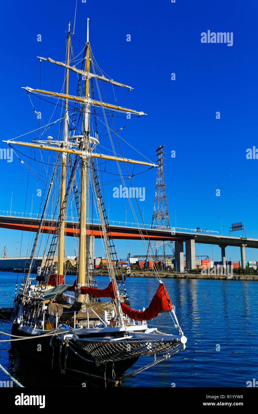 Historical Sail Boat, Schooner, Docklands, Melbourne, Australia - Stock Image
