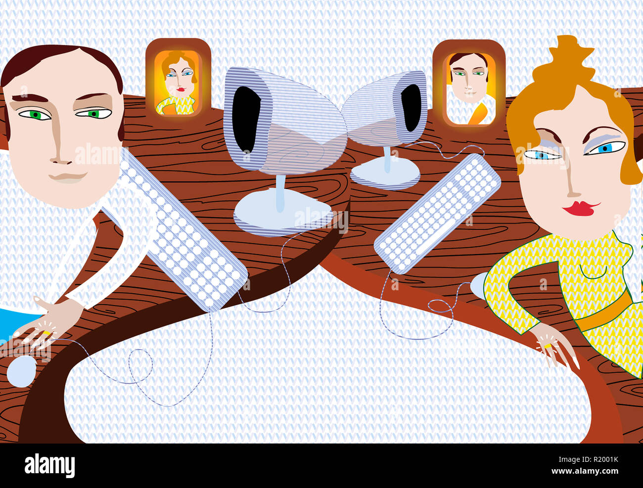 Married couple at work - Stock Image