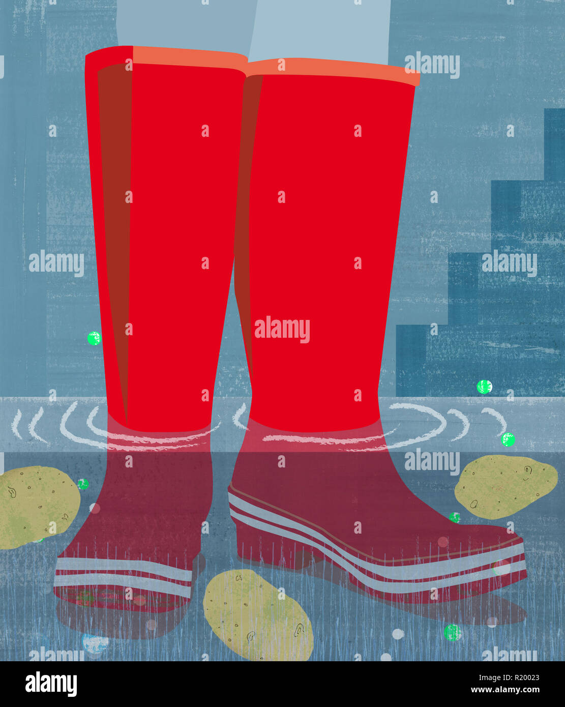 Red rain boots in flood - Stock Image