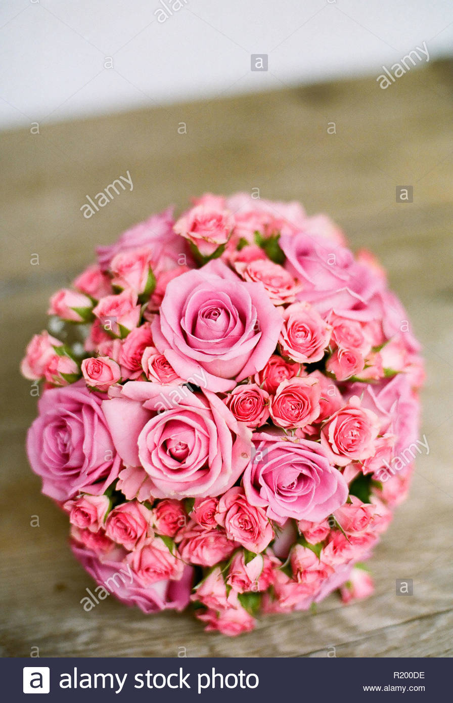 While flowers with a love connection, like roses and carnations, are popular, Everyone's favorite wedding flower, the rose, has different meanings dep - Stock Image