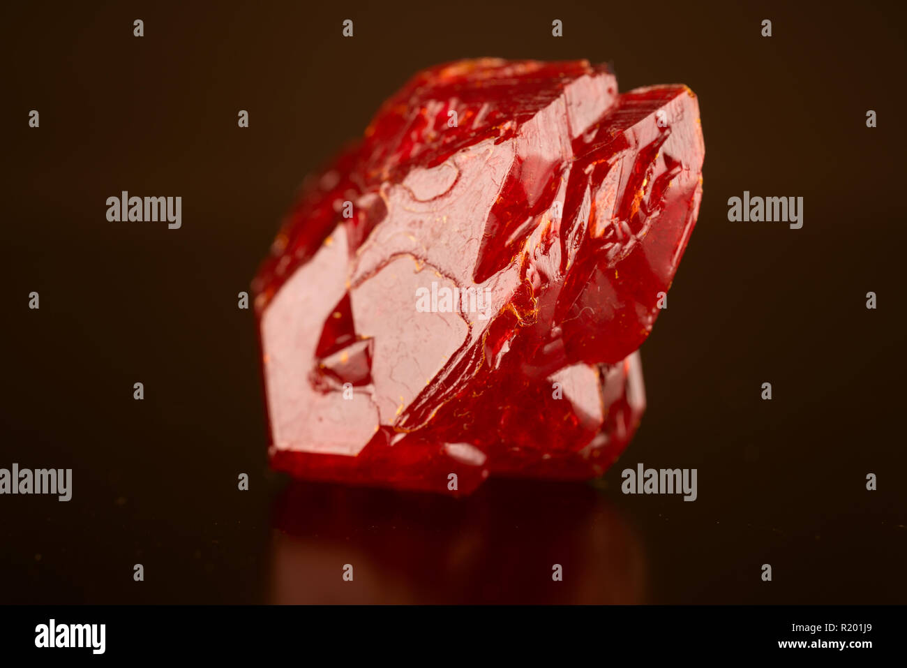 crystal natural mineral on dark background - Stock Image
