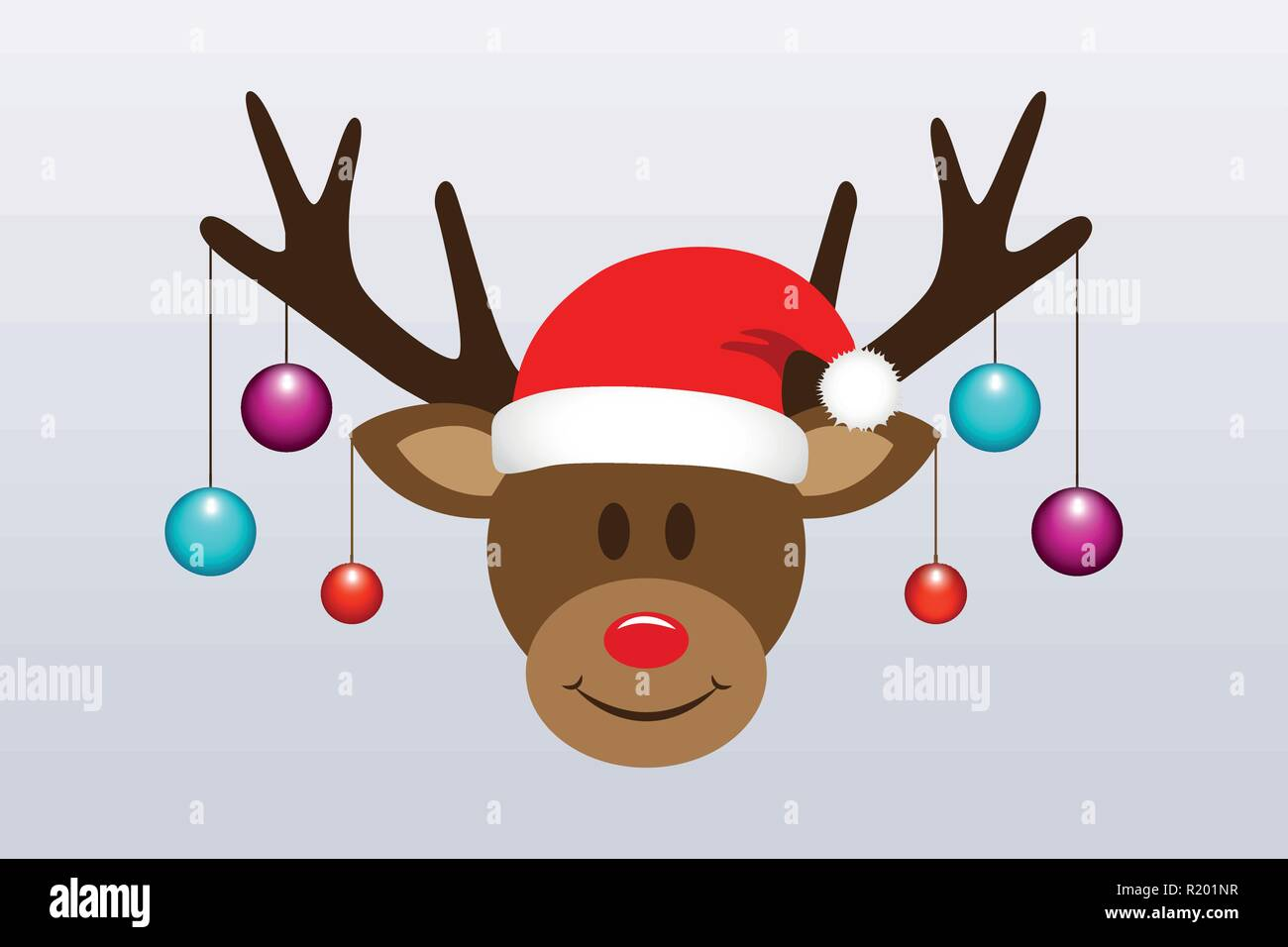 1247d6fe6505e cute reindeer with christmas tree balls and santa hat vector illustration  EPS10 - Stock Image