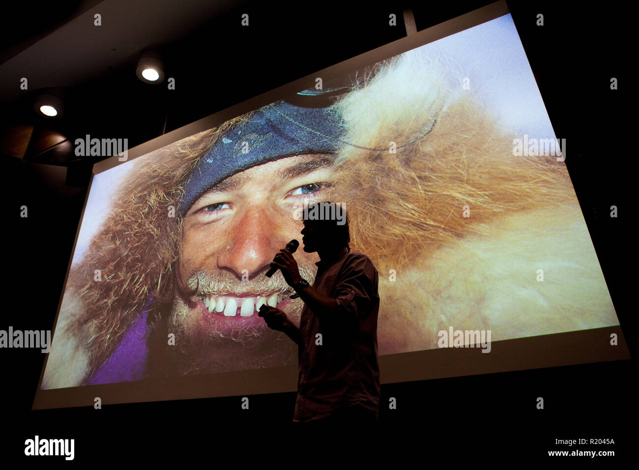 Adventurer and author Tim Cope presenting on his travels to a packed house at RMIT University, Melbourne. - Stock Image