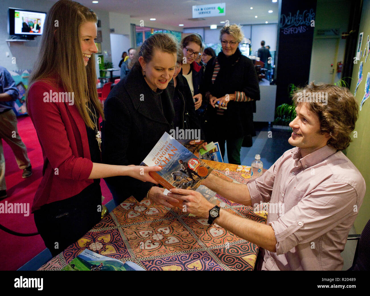 Adventurer and author Tim Cope at a book signing at the West Gippsland Arts Centre. - Stock Image