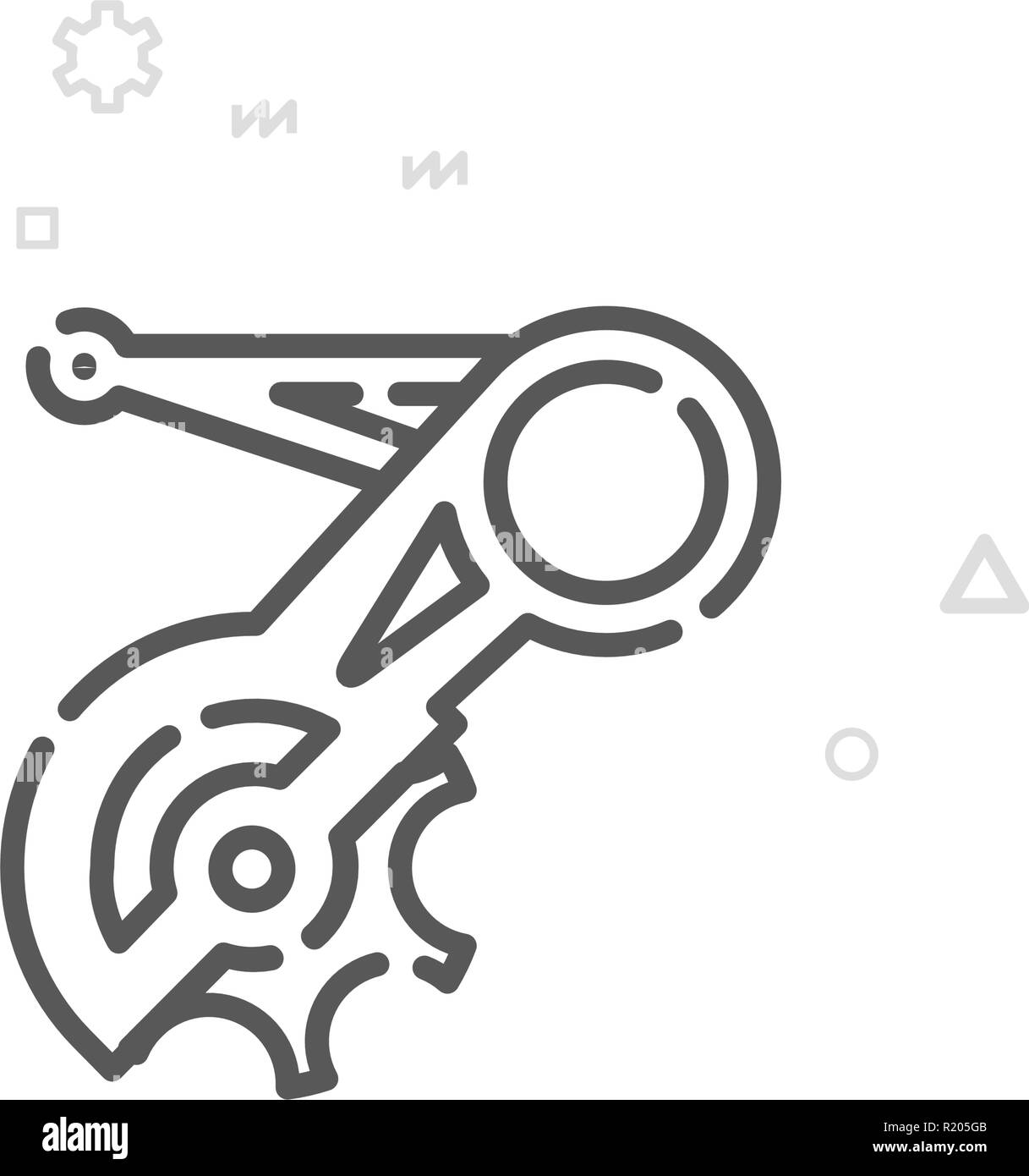 Bike Rear Derailleur Vector Line Icon, Symbol, Pictogram, Sign. Light Abstract Geometric Background. Editable Stroke - Stock Vector