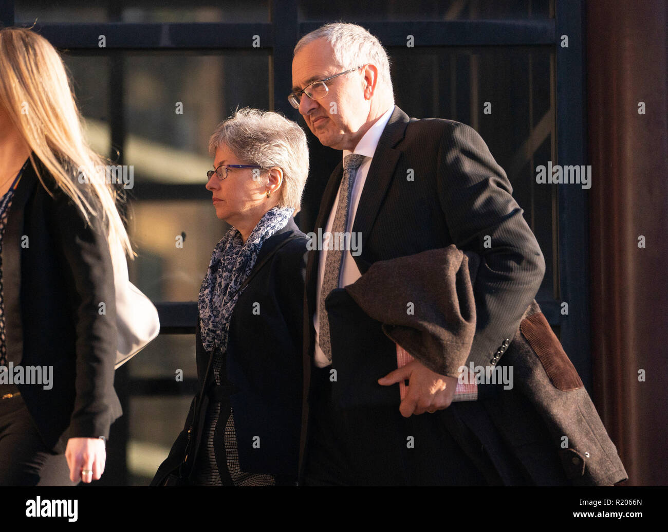 Nigel and Paula Burt, the parents of Durham University student Olivia Burt, who died outside a nightclub, arrive at Newcastle Crown court, as Paul Hind, 38, has been jailed for 14 months after posting offensive messages on Facebook tribute pages to four dead people. - Stock Image