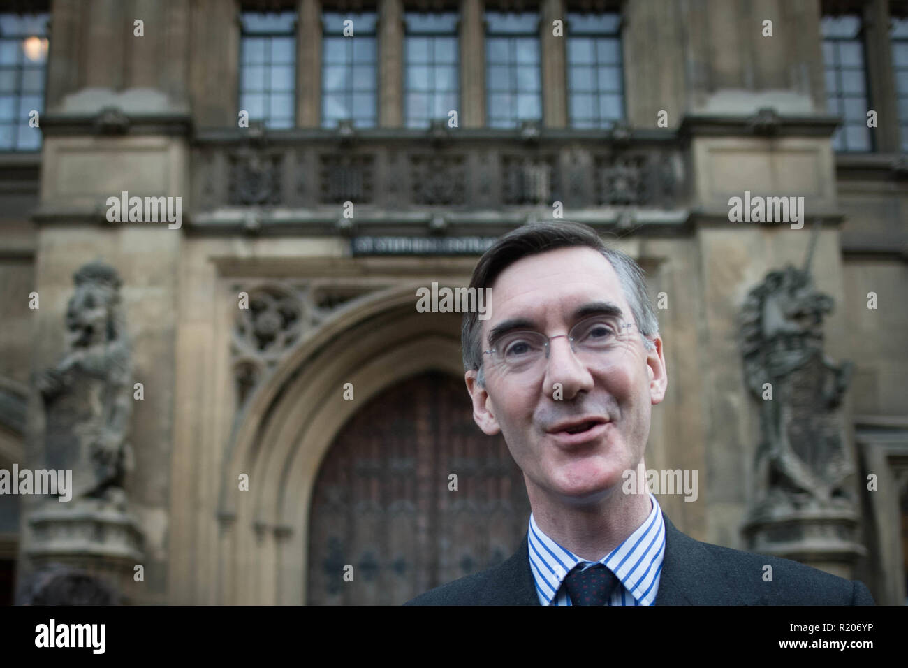 Conservative MP Jacob Rees-Mogg speaking outside the House