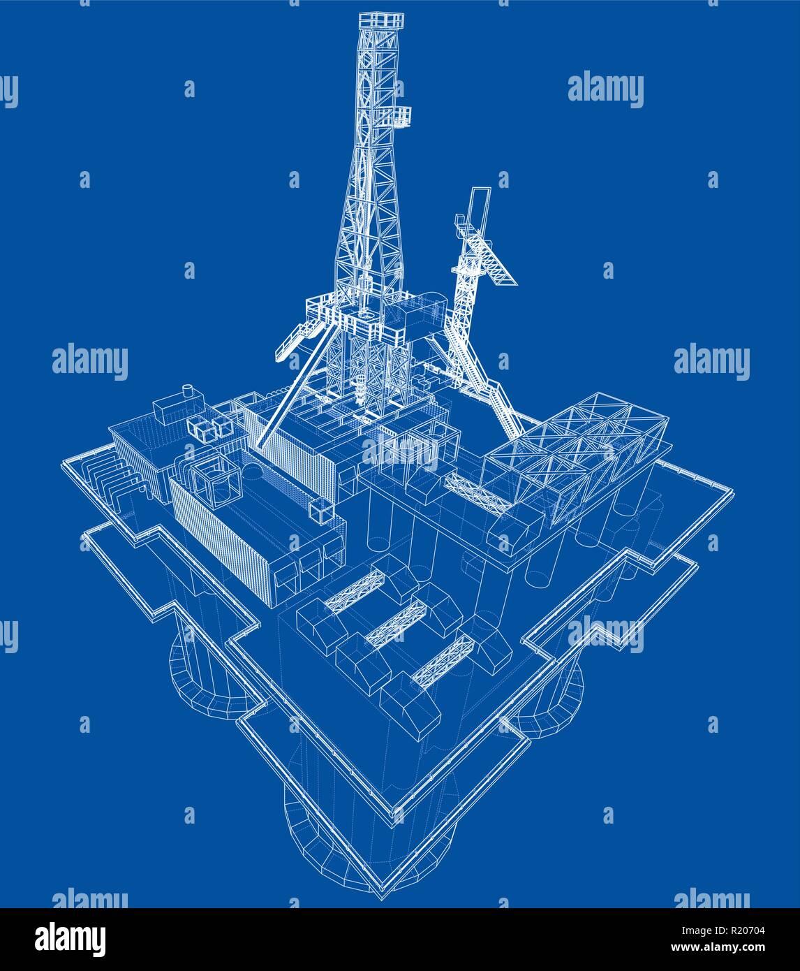 Offs oil rig drilling platform concept. Vector Stock ... Ocean Drilling Rig Schematic Diagram on