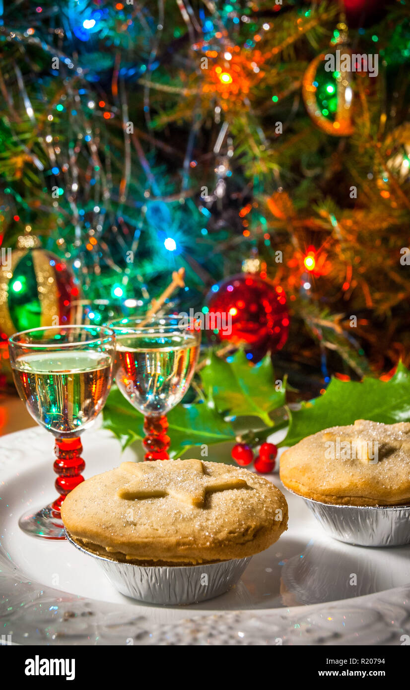 Christmas Pies.A Festive Plate Of Mince Pies And Sherry With Christmas Tree