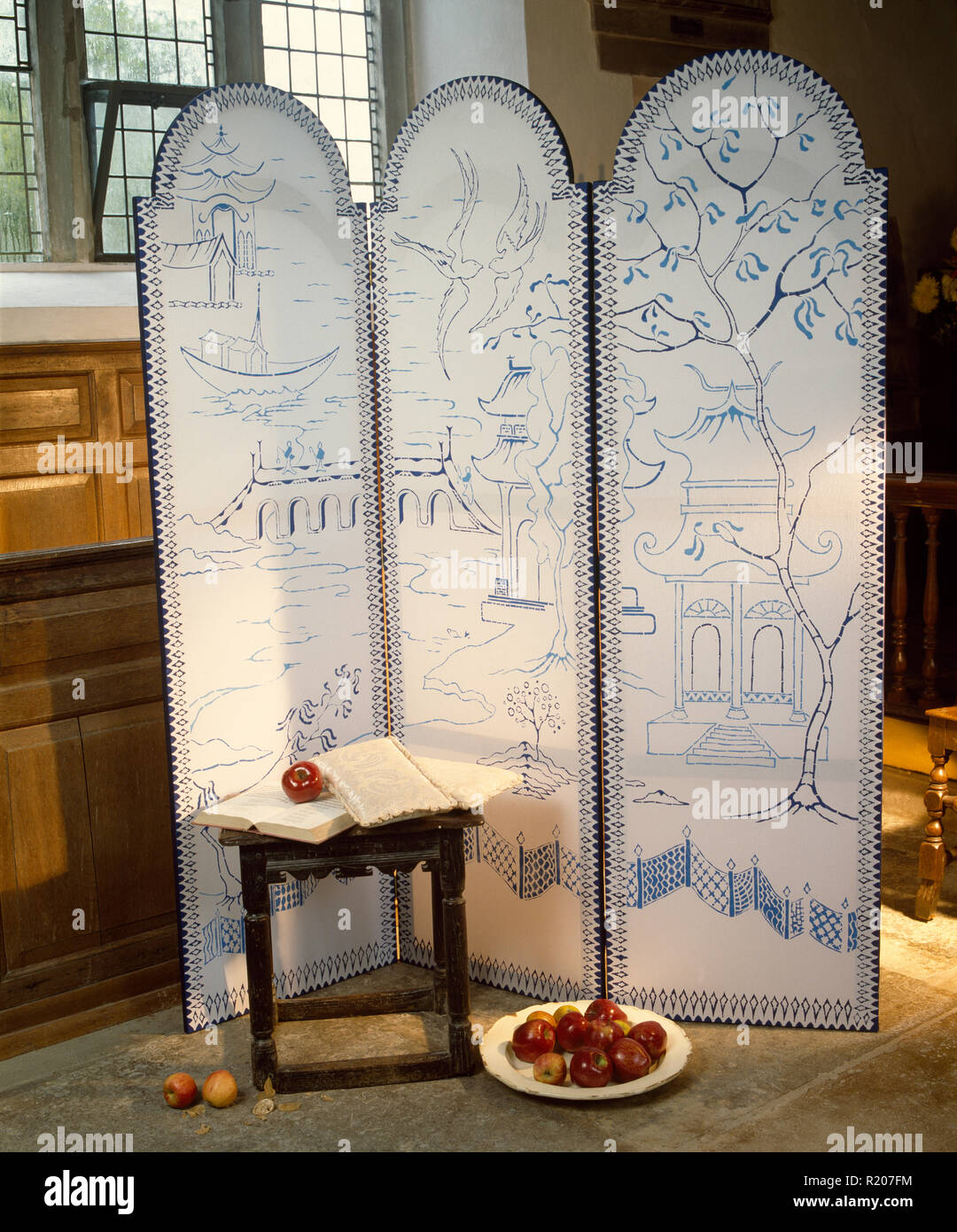 A hand painted folding screen - Stock Image