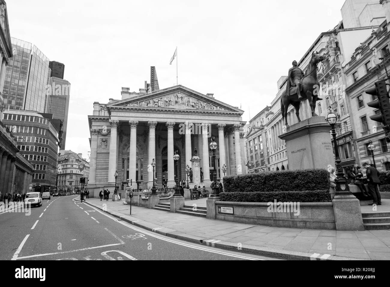 London/England - 06.03.2014: London Equestrian statue of the Duke of Wellington, City of London at Bank Junction - Stock Image