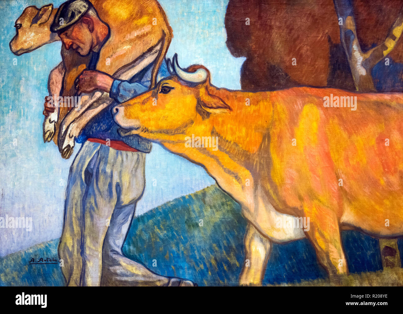 Countryman with a Cow and a Calf (Campesino con una Vaca y una Ternera) by Aurelio Arteta Errasti (1879-1940) , oil on canvas, c.1913-15. Painting in the Allegorical Cycle of Food. - Stock Image